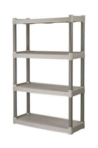 set of 3 4 shelf rack plastic storage unit home garage