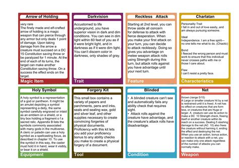 rpg item card template 5e general purpose cards dungeon master assistance