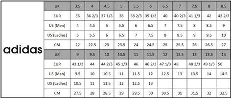 adidas mens womens size conversion chart adidas size