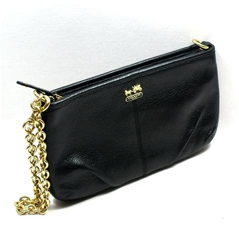 couch wristlet coach madison leather large chainlink wristlet black