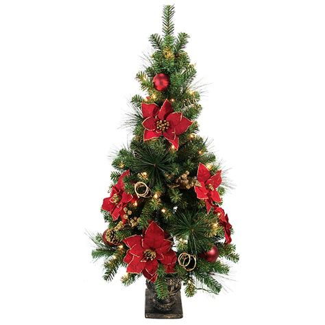 clear poinsetta holiday flower xmas lights home accents 4 ft poinsettia potted artificial tree with 50 clear lights