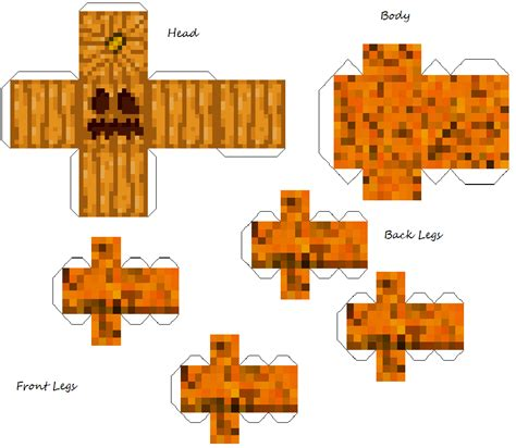 Papercraft Mincraft - pumpkin creeper golam minecraft papercraft by