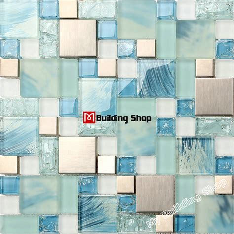 kitchen wall tile backsplash blue glass mosaic kitchen wall tile ssmt306 stainless