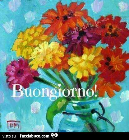 mazzo di fiori colorato dipinto di mazzo di fiori colorati buongiorno