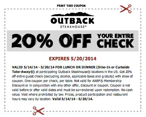 Outback Gift Card Discount - outback steakhouse coupon 20 off