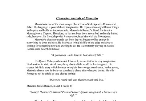 Character Analysis Essay Romeo And Juliet by Character Analysis Of Mercutio Gcse Marked By Teachers