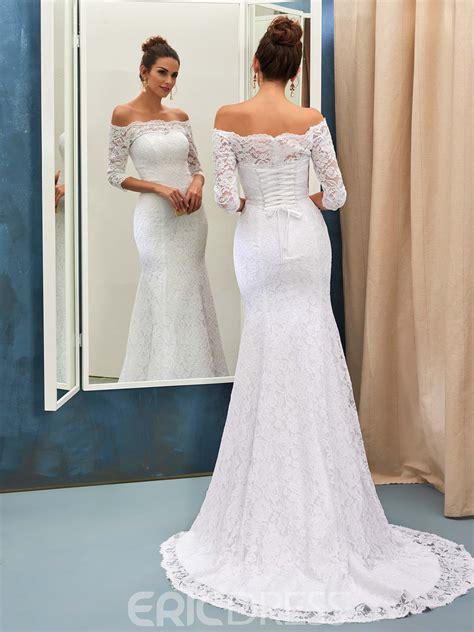 Shoulder Lace Wedding Dress ericdress lace mermaid the shoulder wedding dress with