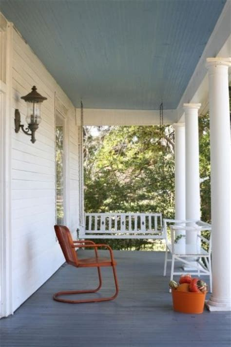 paint porch ceiling blue home exterior ideas