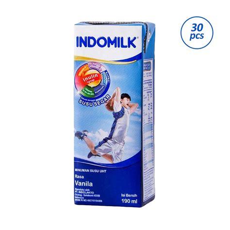 Indomilk 225ml 1dus jual indomilk rasa vanilla uht 1 dus 30 kotak 190