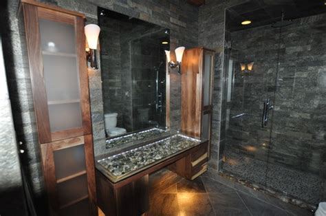 slate river rock bathroom i absolutely love the river rock vanity top
