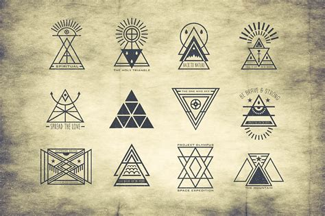 Hipster Tattoo Logo | hipster triangle badges by tsv creative thehungryjpeg com