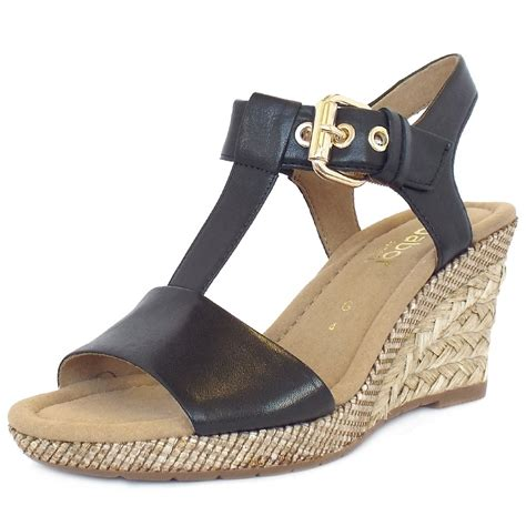 gabor s woven effect wedge sandals in black
