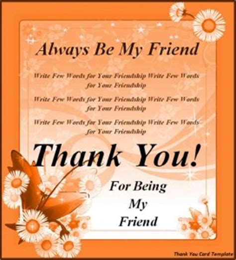 thank you letter to special friend card templates archives word templates