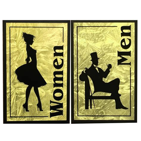 antique bathroom sign vintage restroom sign faux gold leaf men women
