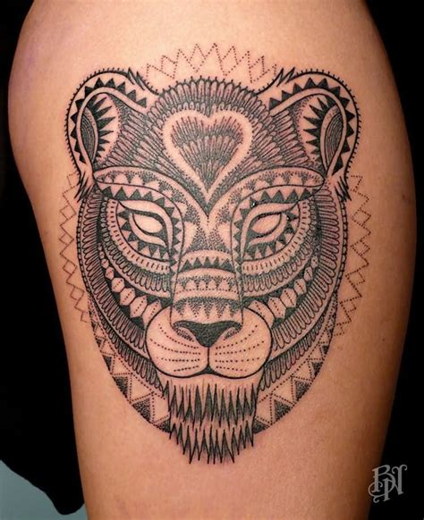 tribal lioness tattoo by jeykill
