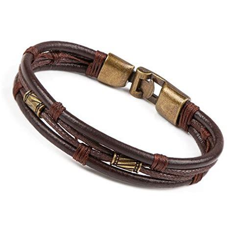 areke mens vintage leather wrap wrist band brown rope