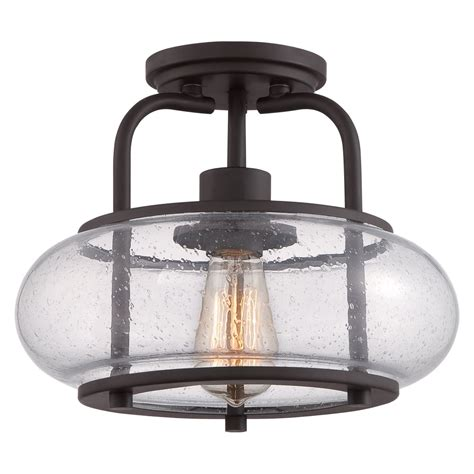 Bronze Ceiling Light Vintage Semi Flush Ceiling Light In Bronze With Clear Seeded Glass