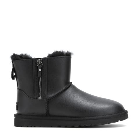 black leather ugg boots ugg classic mini zip leather ankle boots in black