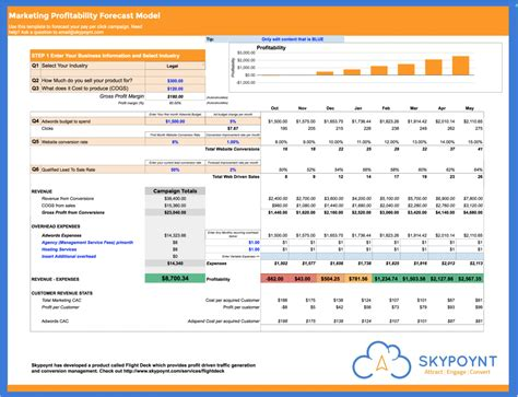 Adwords Profitability Forecast Template Adwords Template