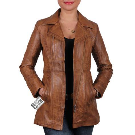 ladies leather biker tan leather coat jacketin