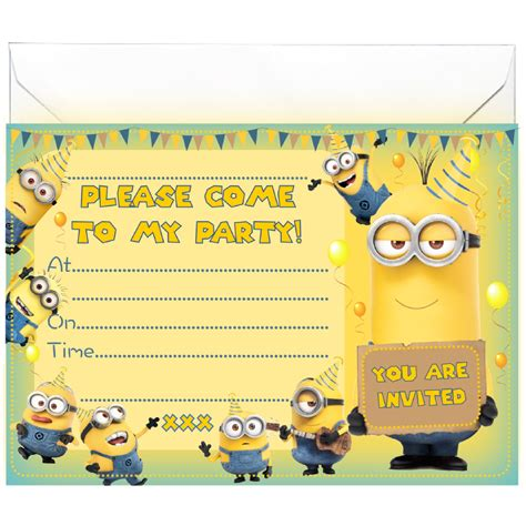 minion invitation card template 20 x invitations inspired by minions all ways