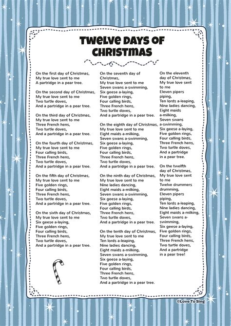 printable lyrics to 12 days of christmas twelve days of christmas song lyrics christmas cards