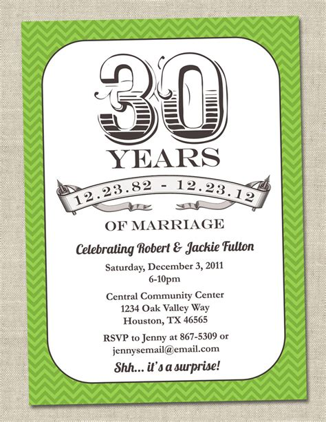 30th Anniversary Invitation Green Emerald Vintage Anniversary Party Invite Fortieth 30th Anniversary Invitations Templates