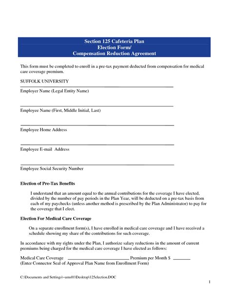 section 125 tax section 125 plan document template 28 images section