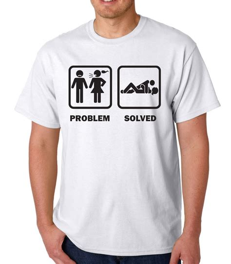 Tshirt Problem Solved Yellow problem solved rude novelty slogan t shirt ideal birthday gift ebay