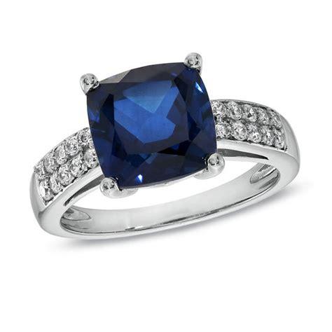 9 0mm cushion cut lab created blue and white sapphire ring