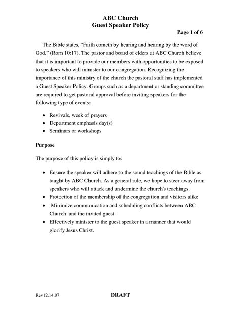 Sle Invitation Letter For Guest Speaker At Church Guest Speaker Invitation Letter Sle