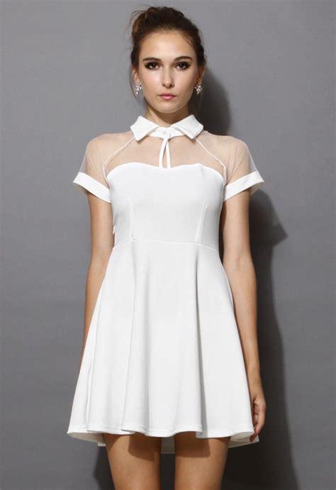 White Texture Collar Dress Size Sml mesh peak collar skater dress in white mi estilo
