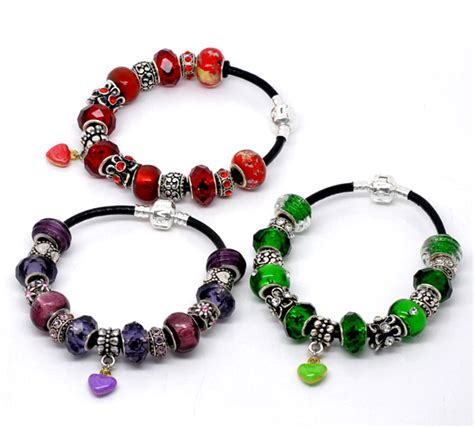 Handmade Charm Bracelets - mixed handmade snap clasp real leather charm