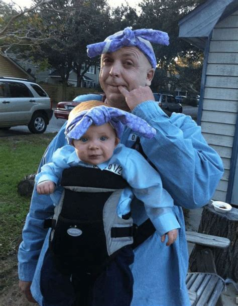 father son enjoying halloween in funny costumes