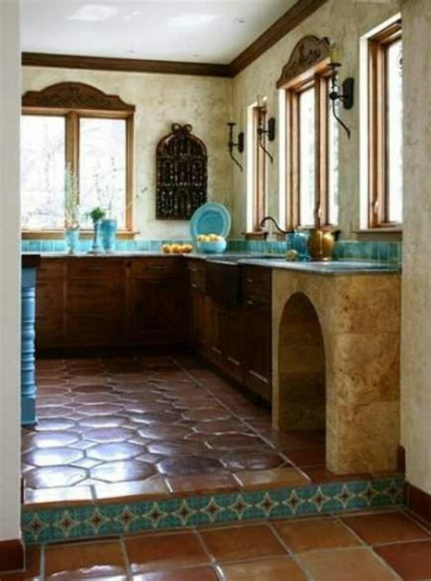 mexican kitchens are the most beautiful in the world the terracotta floors dark lower cabinets white stucco walls