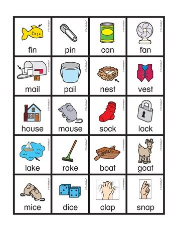 printable toddler words free rhyming picture cards with words from the mailbox
