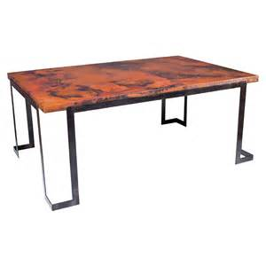 Copper Top Dining Table Steel Rectangle Dining Table With Hammered Copper Top