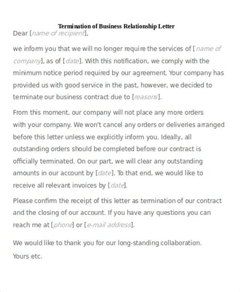 Business Letter Ending Business Relationship sle termination of business letter 6 exles in