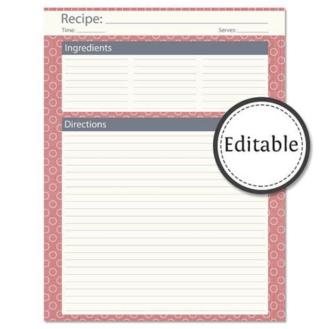 Free Editable Card Template by Recipe Card Page Fillable Instant