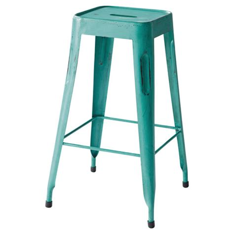 metal industrial bar stool in turquoise jim maisons du monde