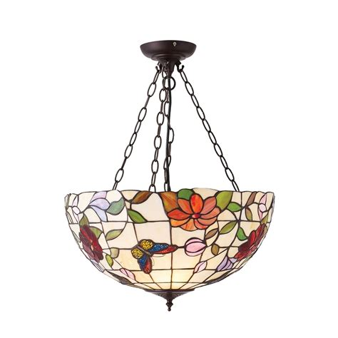 Floral Pendant Light Interiors 1900 Butterfly Large 3 Light Inverted Ceiling Pendant With Floral Decoration