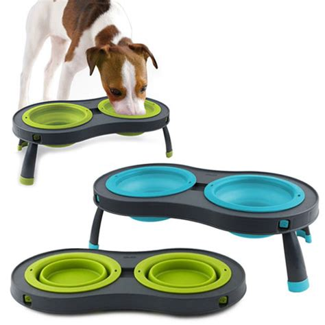 Kong Beds Collapsible Raised Dog Bowls Double Folds Flat