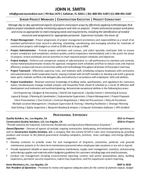 Senior Manager Resume Template by Project Management Resume Exle 10 Free Word Pdf