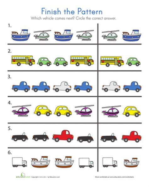 pattern games for preschool online transportation patterns transportation worksheets and