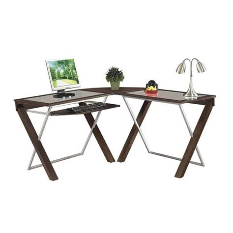 l shape glass top wood computer desk in espresso xt25l