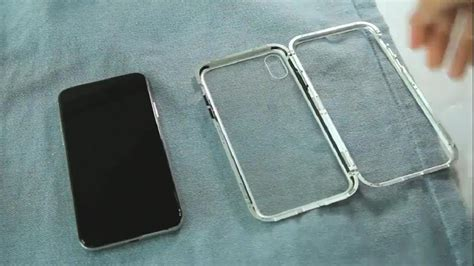 magnetic adsorption metal case  iphone      clear tempered glass built  magnet
