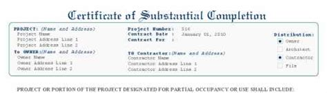 Guarantee Letter Aia Certificate Of Substantial Completion Aia G704 Style