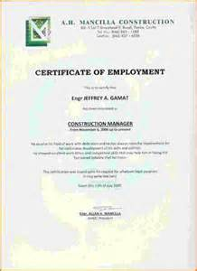 Certification Employment Letter For Caregiver employment certificate