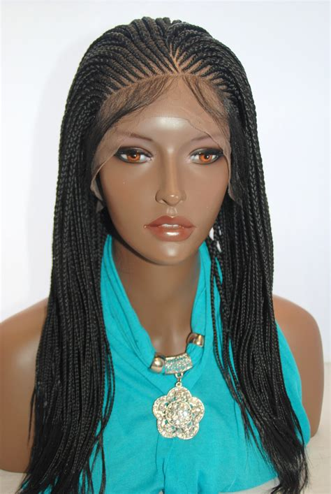 Hand Braided Lace Front Wig Cornrow Color #1 in 16 Inches