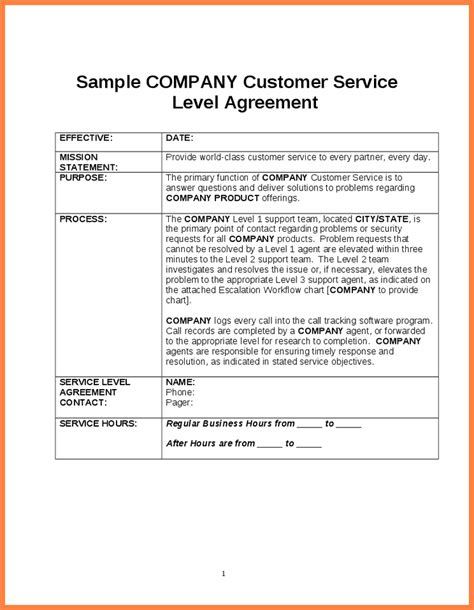 service level agreements templates sla document template 28 images service level